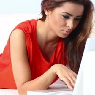sex dating sites header image of woman on computer
